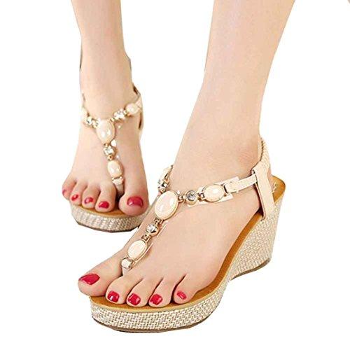 DEESEE® Sweet Beaded Flats Clip Toe Flats Bohemian Herringbone High Help Sandals Beach Shoes Beige fvaizj5R