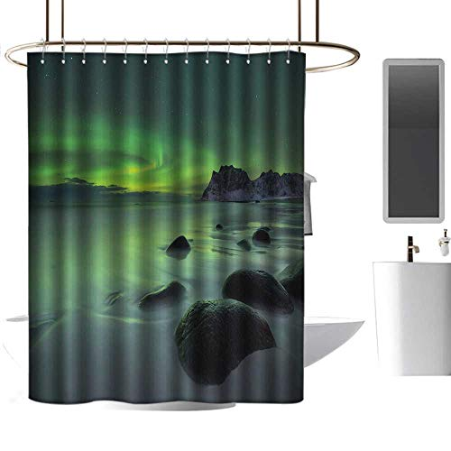 Bleach Wood Panorama Woodland - Aurora Borealis Shower Curtain with Hooks Magic Nature Panorama Coastline Oval Energy Sky Mist Picture Colorful Shower Curtains W55 x L84 Almond and Lime Green