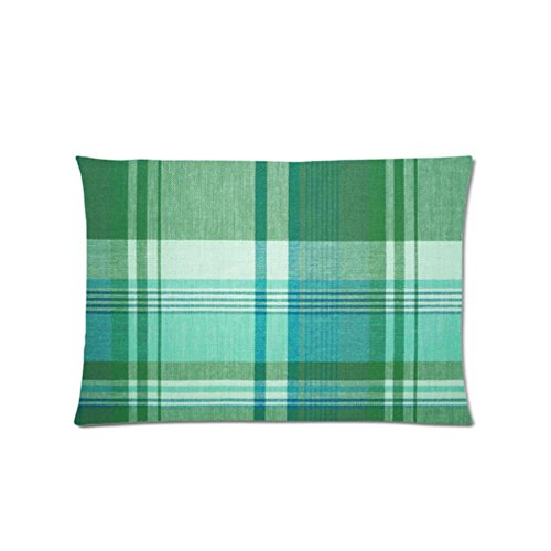 FavorPlus Green Plaid Wallpaper Custom Standard Zippered Pillow Protector Pillowcase Cover 20X30 Inches
