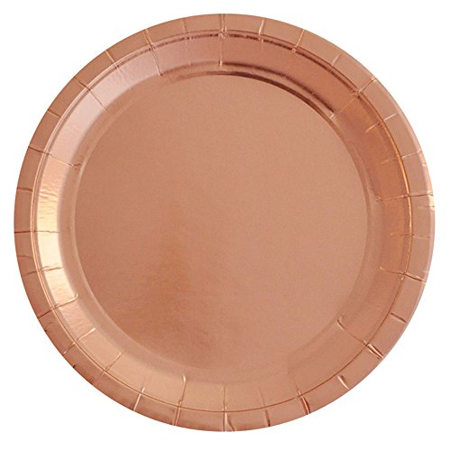 SOCOSY Rose Gold Round Paper Plates Disposable Plates Paper Dessert Snack Plate for Party Birthday Wedding 7''/9''(Set of (7' Dessert Paper Plates)