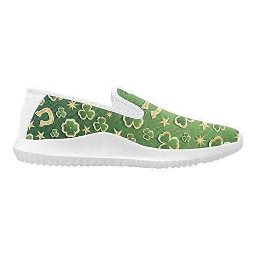 Interestprint Saint Patricks Day Golden Stars Y Horseshoe Mujer Slip-on Mocasines Zapatos Canvas Fashion Sneakers Multi 1