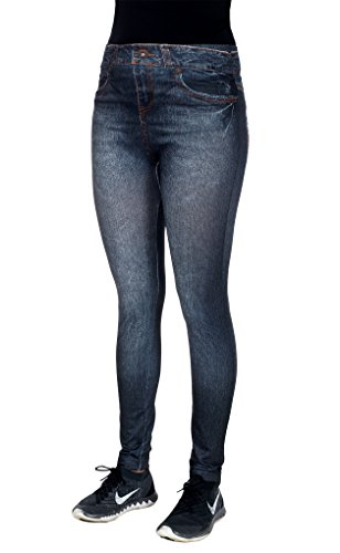 Women's Blue Jean Denim Look Jeggings with Rhinestone Accents by CRUSH (1X/2X, Black)