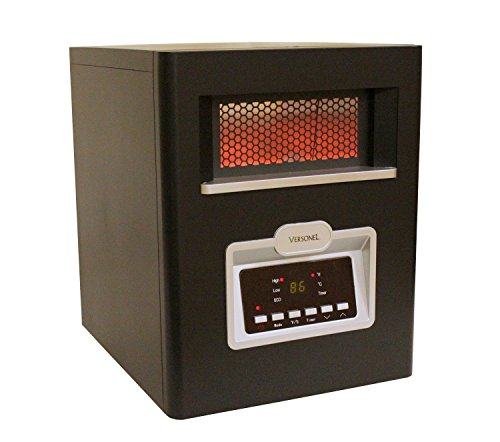 Versonel VSL1500H6E 6 Element Portable Quartz Infrared Heater with Remote, 1500W, Black by Versonel
