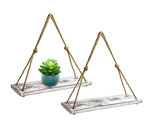 """Distressed Farmhouse Hanging Shelves for Living Room Wall 17/""""x5.2/"""" Small Kitchen Shelves with Rope Rustic Set of 2 Wooden Floating Shelves with String Rustic Blue Color"""
