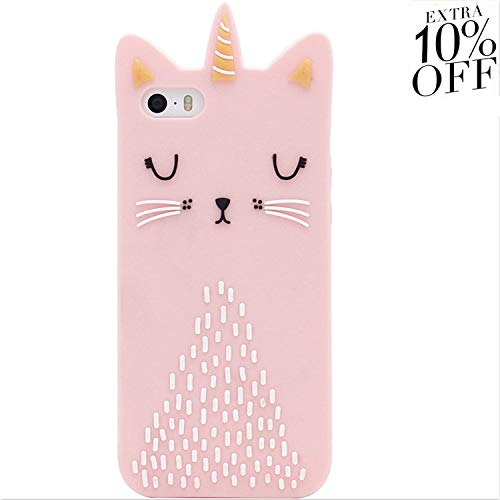 Artbling Cat Unicorn Case for iPhone 5 5S 5C SE Silicone 3D Cartoon Animal Pink Cover,Kids Girls Cool Lovely Cute Love Cases,Kawaii Soft Gel Rubber Unique Character Fashion Funny Protector - Case Hello Kitty 5s