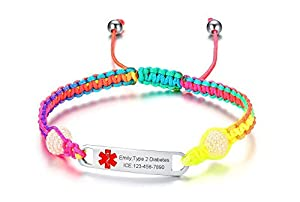 VNOX Free Engraving-Medical Alert ID Handmade Braided Rope Multicolor Adjustable Bracelet Fits Adults & Kids