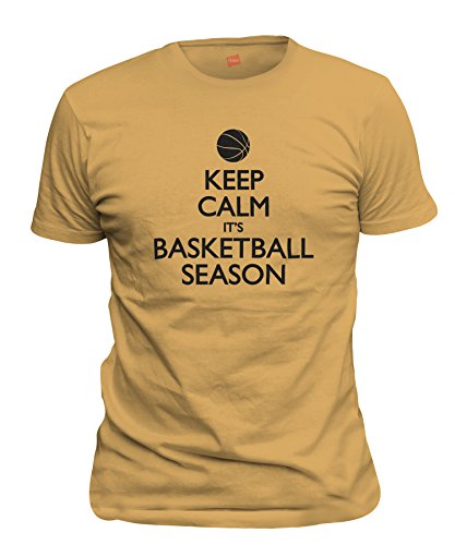 ShirtLoco Men's Keep Calm Its Basketball Season T-Shirt, Gold Nugget Medium