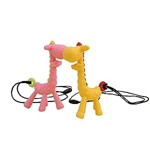 dontdo Cartoon Giraffe Pendant Baby Teething Chew Silicone Teether Toy Pink