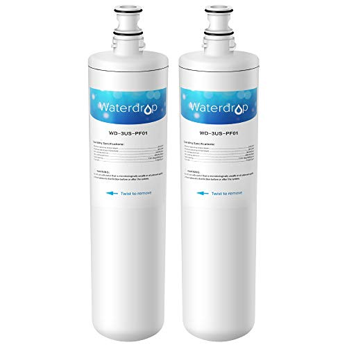 Waterdrop Undersink Water Filter, Compatible Filtrete Advanced 3US-PF01, 3US-MAX-F01H, 3US-PF01H, Manitowoc K-00337, K-00338, K00337, K00338, Delta RP78702, Pack of 2 ()