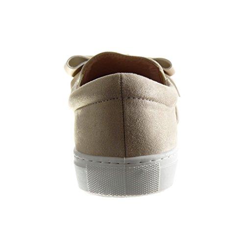 Angkorly - Zapatillas de Moda Deportivos slip-on mujer pajarita Talón tacón plano 2 CM - Beige
