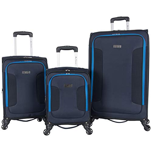Ben Sherman Houndstooth Hike 3-Piece Lightweight Softside Expandable 4-Wheel Spinner Luggage Set; 20 Carry-on, 24, & 28 Suitcase Set, Navy W/ Blue
