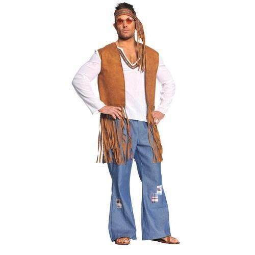 Underwraps Costumes  Men's Retro Hippie Costume - Right On, White/Tan/Blue, One Size