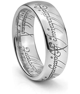 plain elvish script tungsten carbide men women laser etched wedding band ring size - Lord Of The Rings Wedding Band