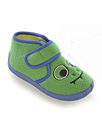 Universal Textiles Childrens Toddler Boys Monster Design Touch Fastening Slippers