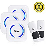 Wifzu Wireless Doorbell Kit IPX5 Waterproof with 2 Remote Button 3 Plugin Receiver No Batteries Required for Receiver Over 50 Chimes White