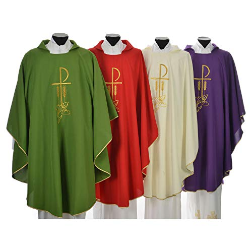 Green Chasuble - Chasuble in Polyester with Chi Rho and Loaves and Bread, Green