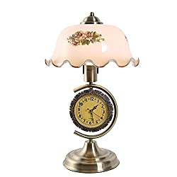 Everyday MANO HOME Vintage Countryside Style Bedside Table Lamps with Watches and Clocks Touch (Color : Antique brass, Size : 44cmX27cm)