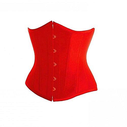 ええ階下Red Satin Goth Burlesque Costume Bustier Waist Training Basque Underbust Corset