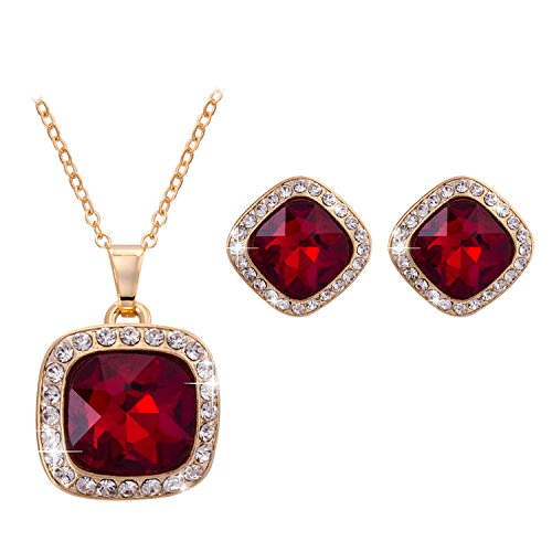 Women Fashion Bride Sets Pendant Necklace And Elegant Earrings Red - 7