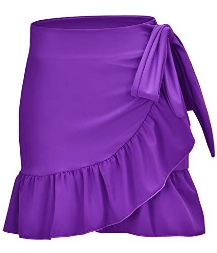 ChinFun Women's Ruffle Sarongs Beach Wrap Swimwear Bikini Tankini Cover Up Swim Skirts Swimdress Solid Purple L-2XL