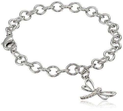 "Sterling Silver Diamond Dragonfly Charm Bracelet, 6.75"""