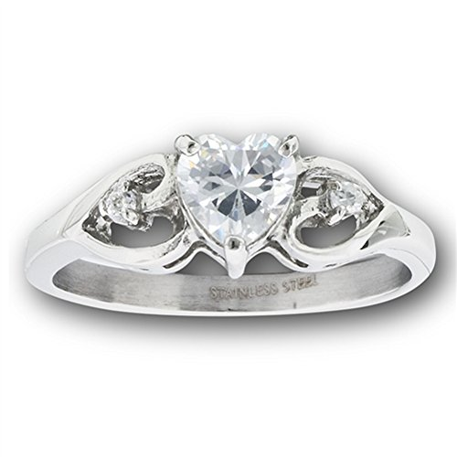 Filigree Ring Band - Clear CZ Heart Solitaire Filigree Promise Ring Stainless Steel Band Size 6