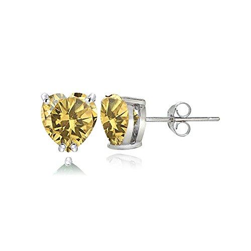 (Sterling Silver Citrine 5mm Heart Stud Earrings)