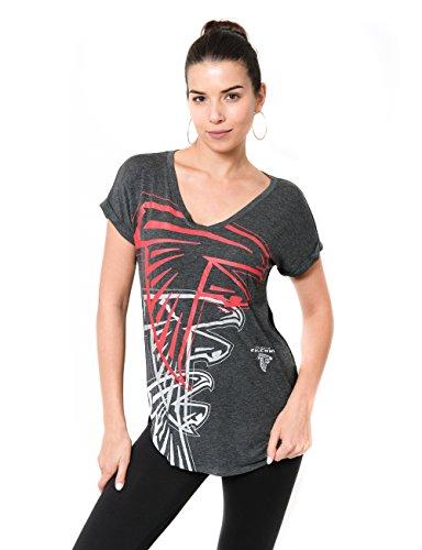 ICER Brands Adult Women T V-Neck Soft Modal Tee Shirt, Team Color, Gray, Small Atlanta Falcons Team Apparel