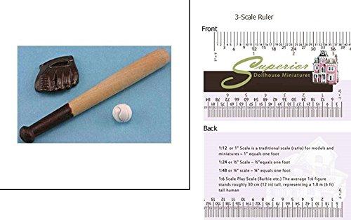 Dollhouse BASEBALL SET (1248) (Accessory Set 1 Inch Scale)
