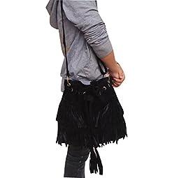 ilishop Women\'s Faux Suede Shoulder Bag Fringe Tassel Drawstring Bucket Bag Messenger Handbag (Black)
