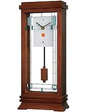 "Bulova B1839 Willits Frank Lloyd Wright Mantel Clock, 14"", Walnut Finish"