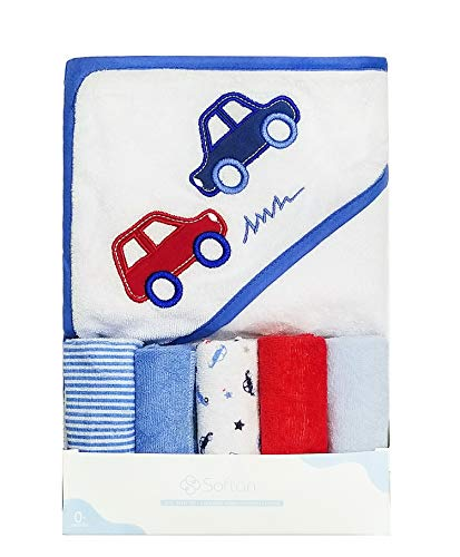 Softan Baby Hooded Towel Bath Towel and Washcloths, Extra Soft and Ultra Absorbent, 5+1 Gift Pack for Newborn and Infants, - Washcloths Baby Cars