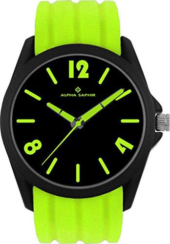 Alpha Saphir Reloj Analógico para Hombre de Cuarzo con Correa en Silicona 378F: Amazon.es: Relojes