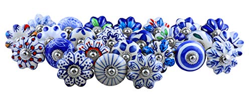 Set of 25 Blue and White Hand Painted Ceramic Pumpkin Assorted Knobs Cabinet Drawer Handles Pulls