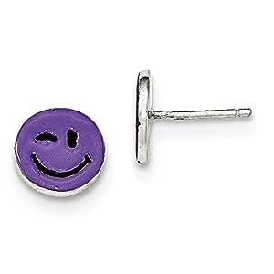 Plata de ley con cara de niño del esmalte púrpura desarreglo Post pendientes - JewelryWeb
