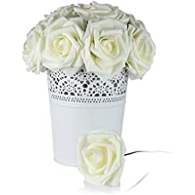 Roses Artificial Flowers Fake Flowers Wedding Decorations Set 50pcs Artificial Flora DIY Wedding Home Office Party Hotel Restaurant Patio Yard Decoration (Ivory)
