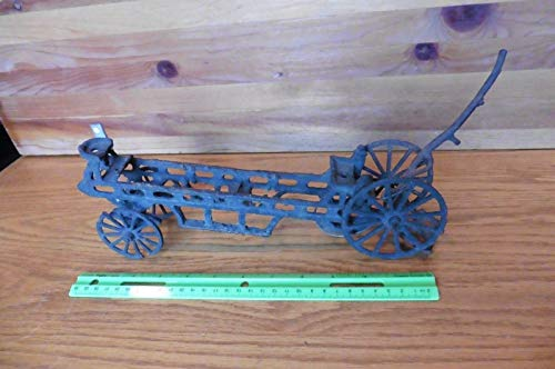 Old Cast iron Toy Vintage horse pulled wagon buggy wheel antique rusty steampunk ()