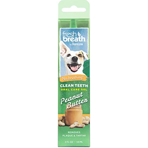 TropiClean Fresh Breath No Brushing Peanut Butter Flavor Clean Teeth Dental & Oral Care Gel for Dogs, 2oz - Made in USA