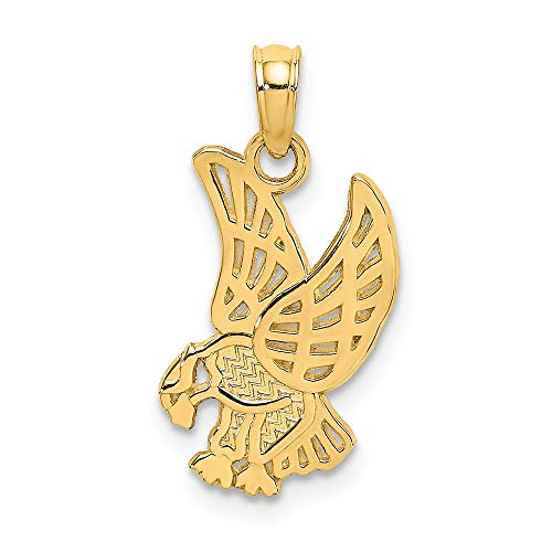 14k Yellow Gold Eagle Landing Flat Pendant Charm Necklace Bird Fine Jewelry Gifts For Women For Her