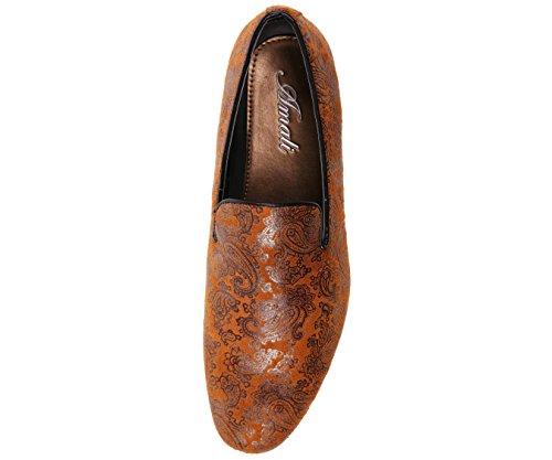 Amali Heren Paisley Print Microfiber Smoking Slipper, Nachtclub Instappers Loafer Dress Shoe, Style Vega Cognac