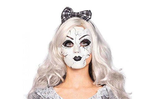 Broken Doll Adult Costumes (Adult size Plastic Porcelain Broken Doll Mask - Broken Doll)
