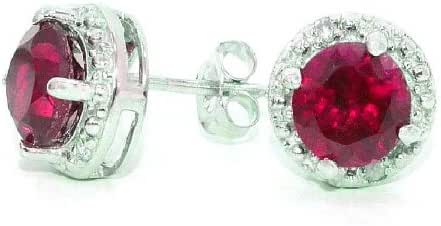 2 Ct Created Ruby & Diamond Round Stud Earrings .925 Sterling Silver Rhodium Finish