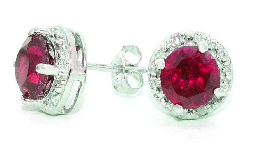 (2 Ct Created Ruby & Diamond Round Stud Earrings 14Kt White Gold & Sterling Silver)