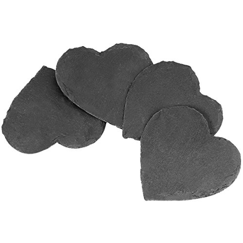 rockcloud Natural Slate Coasters Set of 4 Handmade Coasters For Drinks, Beverages, Wine Glasses Furniture Protection, Heart - Slate Heart