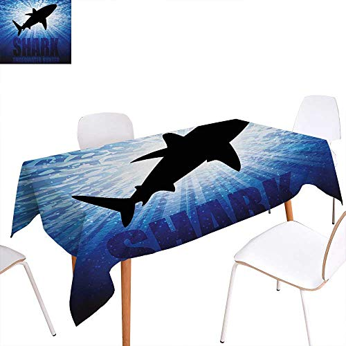 Warm Family Shark Patterned Tablecloth Underwater Hunter Phrase Fish Silhouette in The Ocean Danger in Marine Picture Dust-Proof Oblong Tablecloth 60
