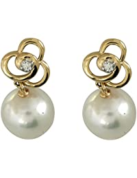 14k Yellow Gold 7.5-8mm Cultured Pearl and Diamond Drop Earrings