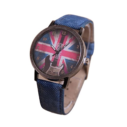 Tonsee Retro Guitar British Flag Pattern Woman Watch (Blue)