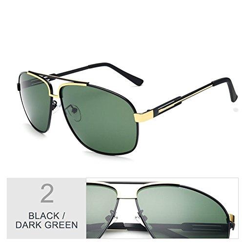 Gafas Black sesgada aviador de Verde oval Sunglasses Negro Green hombres oscuro sol TL para Dark wqU4FBx
