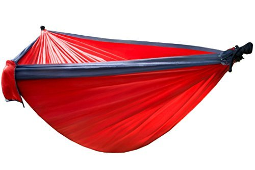 Ultralight Two Person Camping Hammock – Parachute Nylon Double Backpacking Hammock in Classic Red – Includes Ropes and Carabiners!