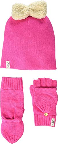 UGG Kids Baby Girl's Knit Hat with Bow and Flip Mitt for sale  Delivered anywhere in USA